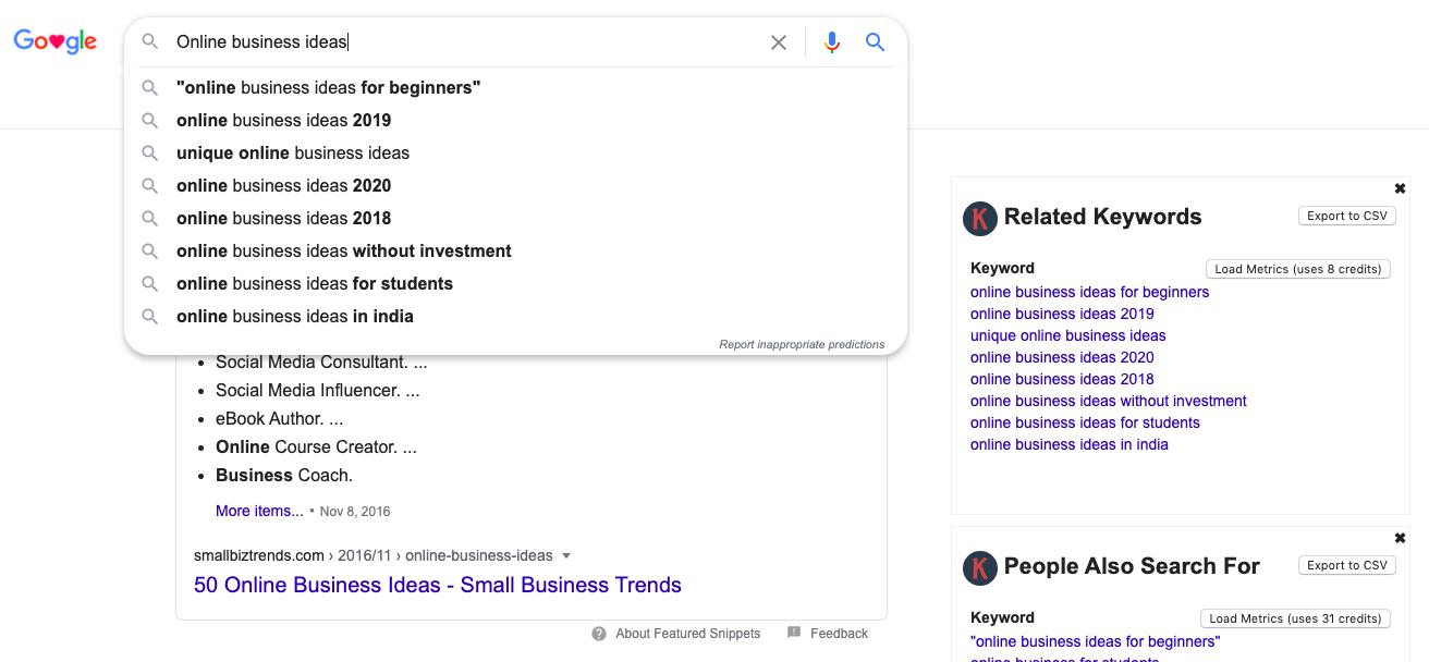 Google search box Keywords