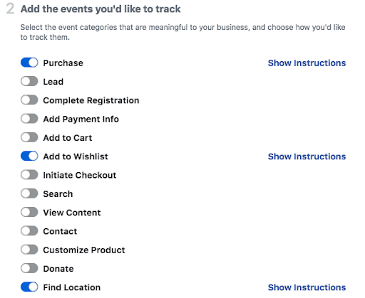 Facebook Pixel Track events
