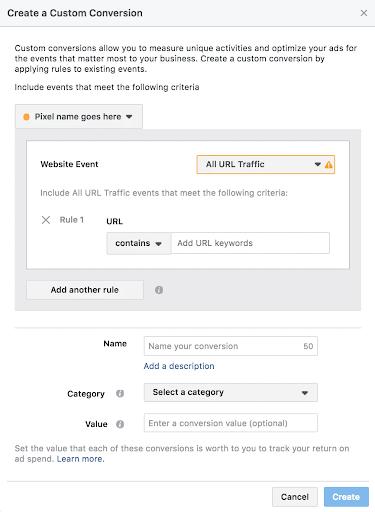 Facebook pixel create a custom conversion